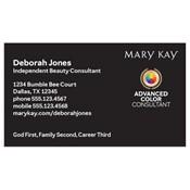 Tarjeta de presentación para consultora, Advanced Color, negra