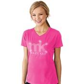 Camiseta cuello V con logotipo con estrás