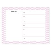 Bloc de notas con calendario Distressed Chevron, rosado