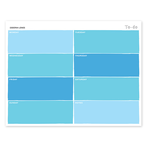 Color Swatch Blue Calendar Notepad