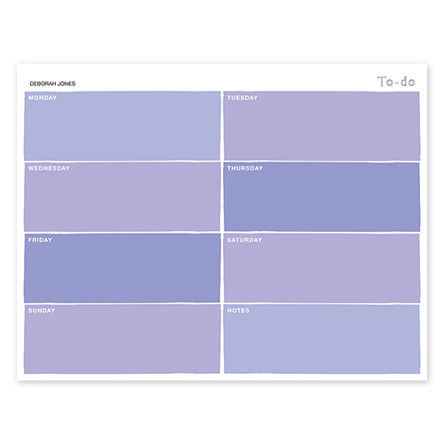 Color Swatch Purple Calendar Notepad
