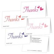 Gafetes plegables de agradecimiento con corazones para regalo