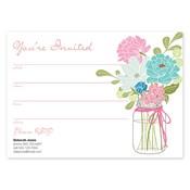 Invitaciones en blanco Country Chic Bouquet, aguamarina