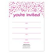 Invitaciones en blanco Confetti Dots, rosado
