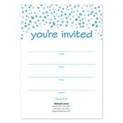 Invitaciones en blanco Confetti Dots, azul
