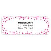 Etiquetas de dirección Confetti Dots, rosado