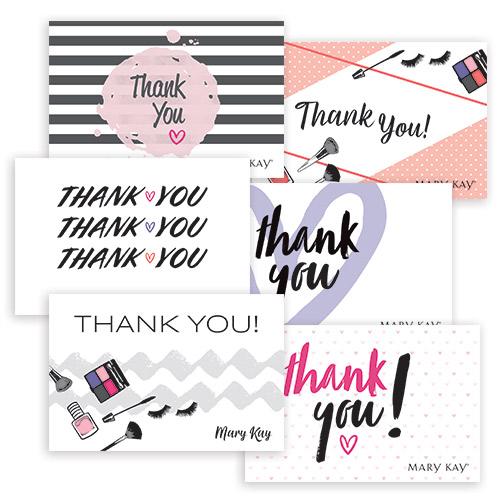Tarjetas postales con notas de agradecimiento