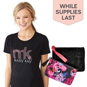 Pink Dazzle T-Shirt and Wristlet, Cosmetic Bag Combo