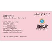 Tarjeta de presentación para consultora, Advanced Skin Care, rosada