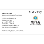 Tarjeta de presentación para consultora, Advanced Skin Care, blanca