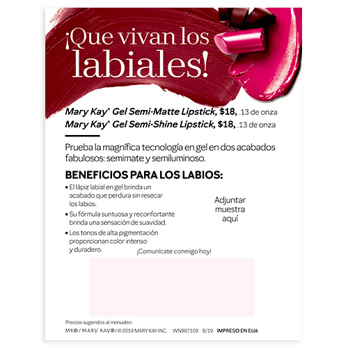 Mary Kay Gel Lipstick Sample Cards - Spanish, Non-Personalized