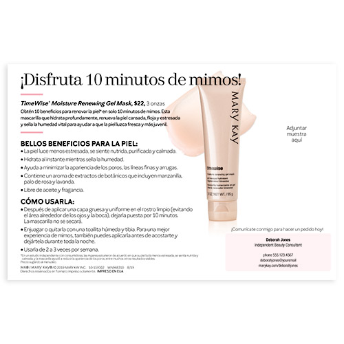 Tarjetas para muestras de mascarilla de gel TimeWise de Mary Kay, español, personalizadas