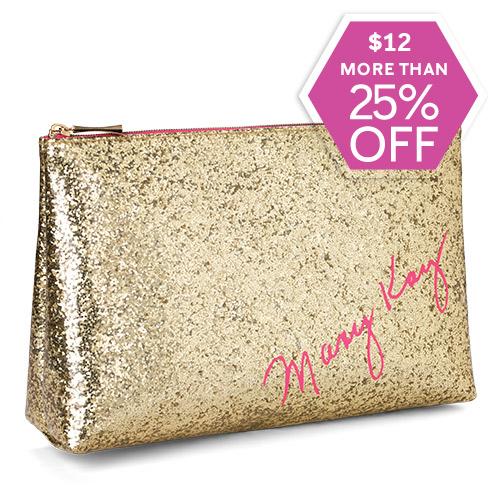Bolso para cosméticos dorado con brillo